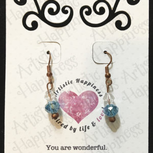 Copper French Hook Earrings with Blue Crystals