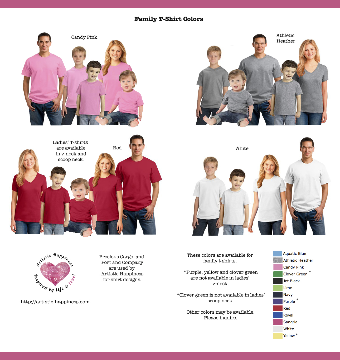 Family T-Shirt Color Chart